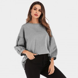 YYFS Checked Flare Cuff Black Top (5972)