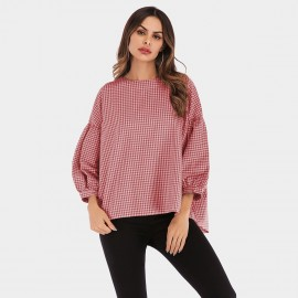 YYFS Checked Flare Cuff Red Top (5972)