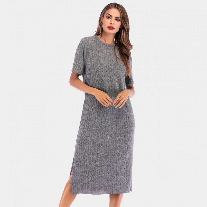 Buy YYFS Round-Neck Long Grey Dress online, shop YYFS with free shipping