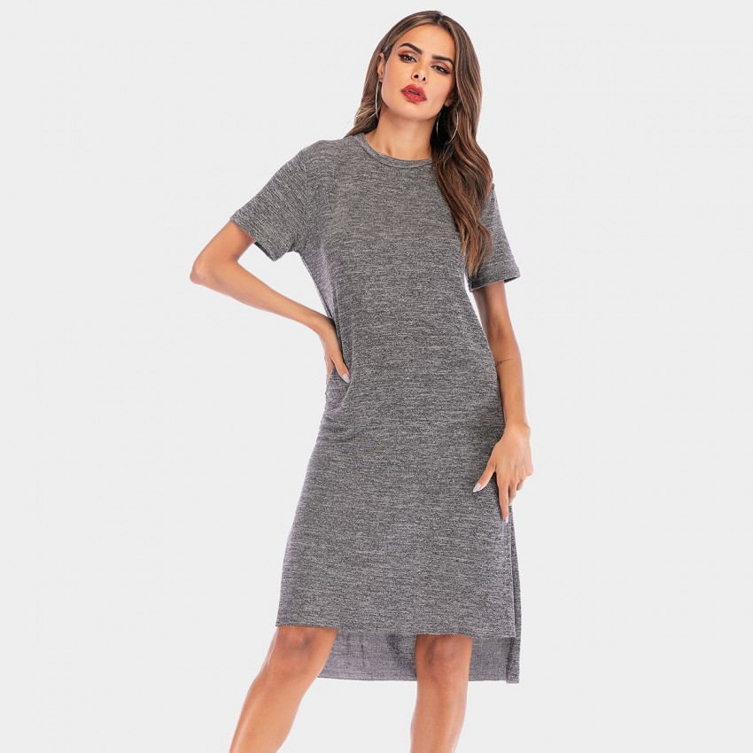 Buy YYFS Basic Long Grey Dress online, shop YYFS with free shipping
