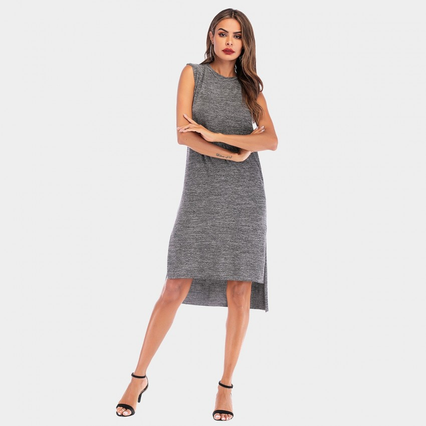 Buy YYFS Simple Vest Grey Dress online, shop YYFS with free shipping