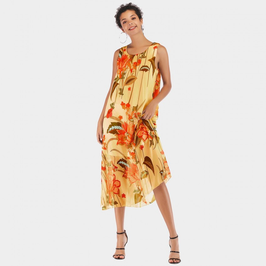 Buy YYFS Floral Vest Yellow Dress online, shop YYFS with free shipping