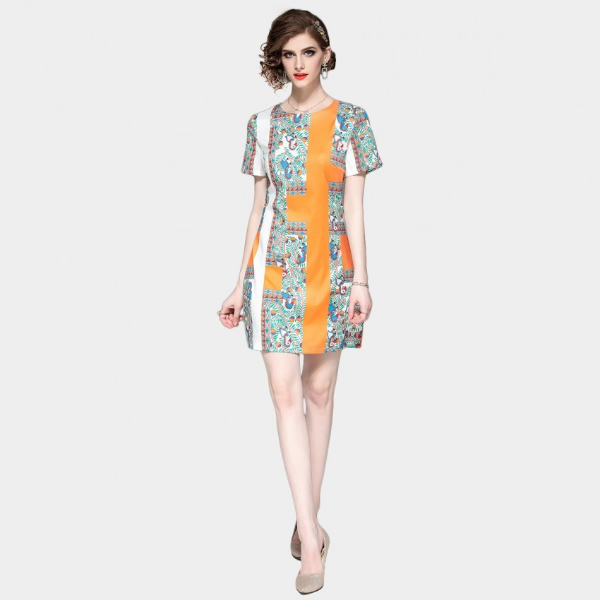 Buy DZA In the Garden Print Orange Tee Dress online, shop Ou Yan with free shipping