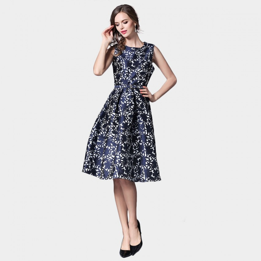 Ou Yan Elegant Floral Navy Dress (8036)