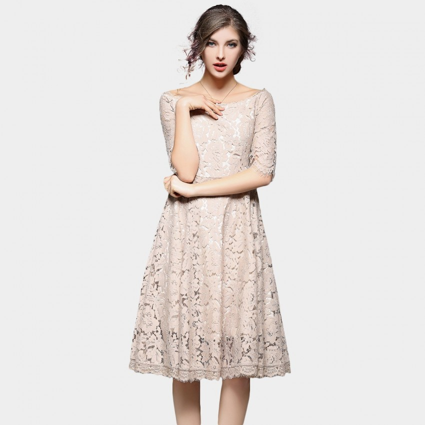 Buy Ou Yan Off Shoulder Lace Mid Sleeved Apricot Dress online, shop Ou Yan with free shipping
