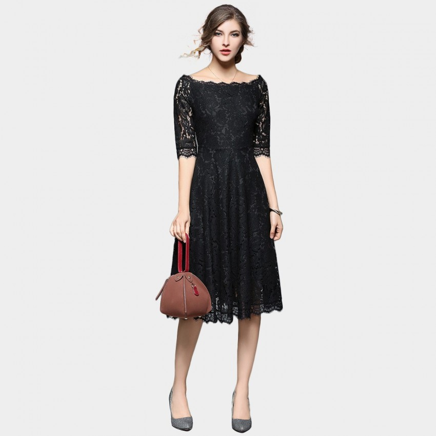 Buy Ou Yan Off Shoulder Lace Mid Sleeved Black Dress online, shop Ou Yan with free shipping