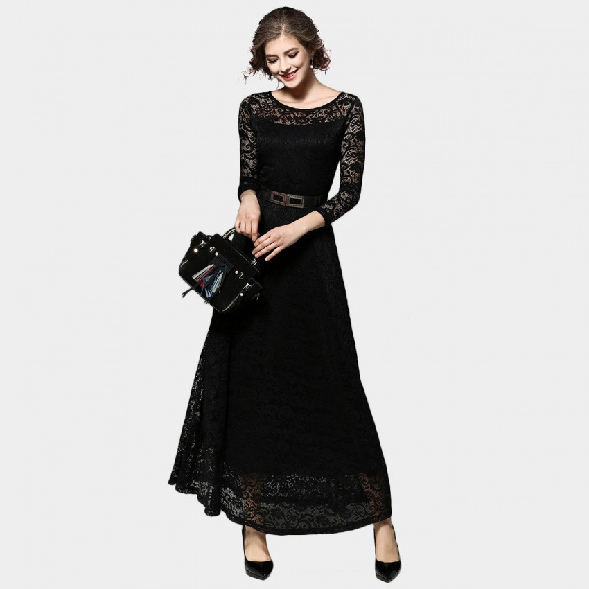 Buy Ou Yan Mid Sleeved Lace Black Dress online, shop Ou Yan with free shipping
