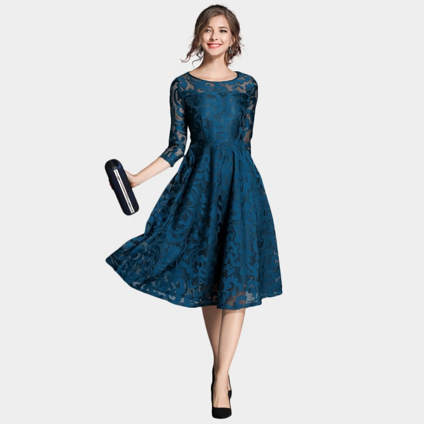 Buy Ou Yan Royal Lace Mid Sleeved Navy Dress online, shop Ou Yan with free shipping