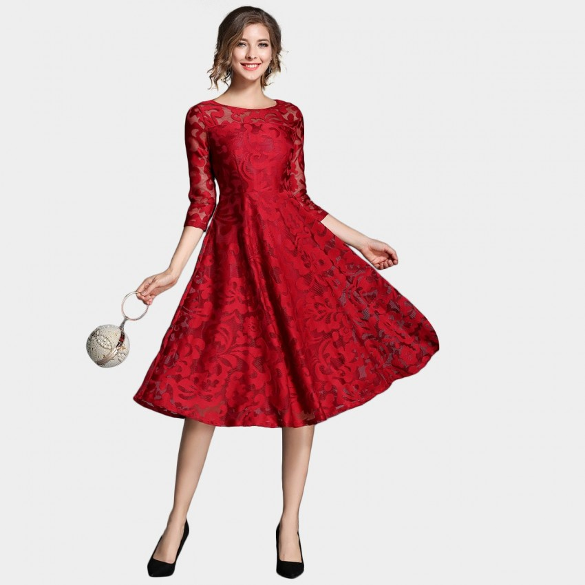 Buy Ou Yan Royal Lace Mid Sleeved Red Dress online, shop Ou Yan with free shipping
