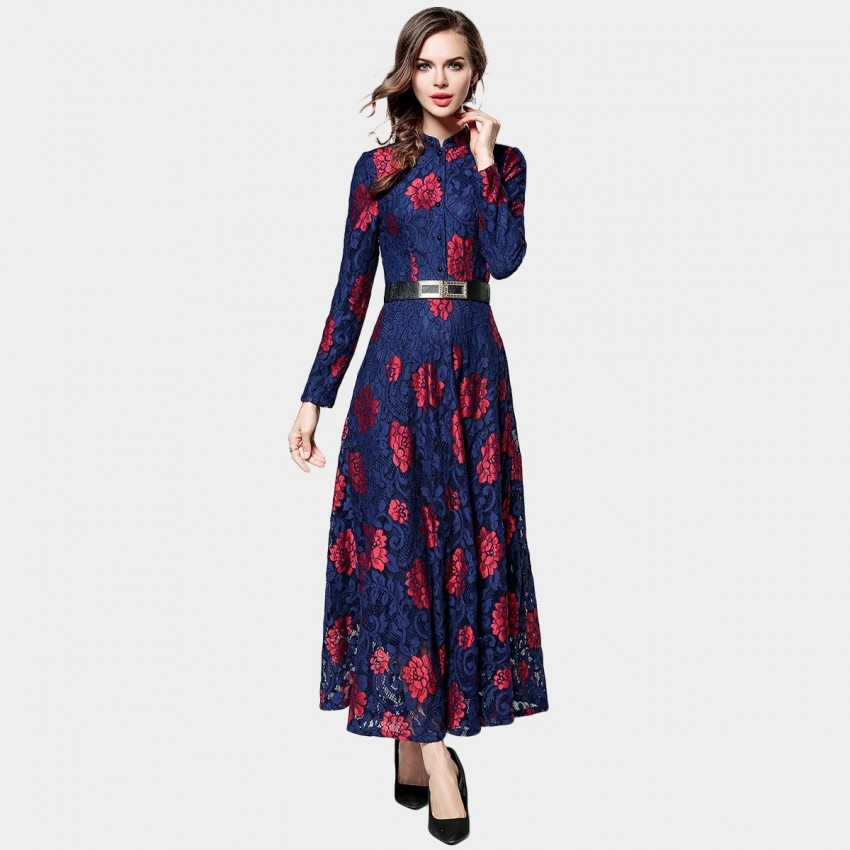 Ou Yan Contrast Collar Button Lace Navy Dress (8095)