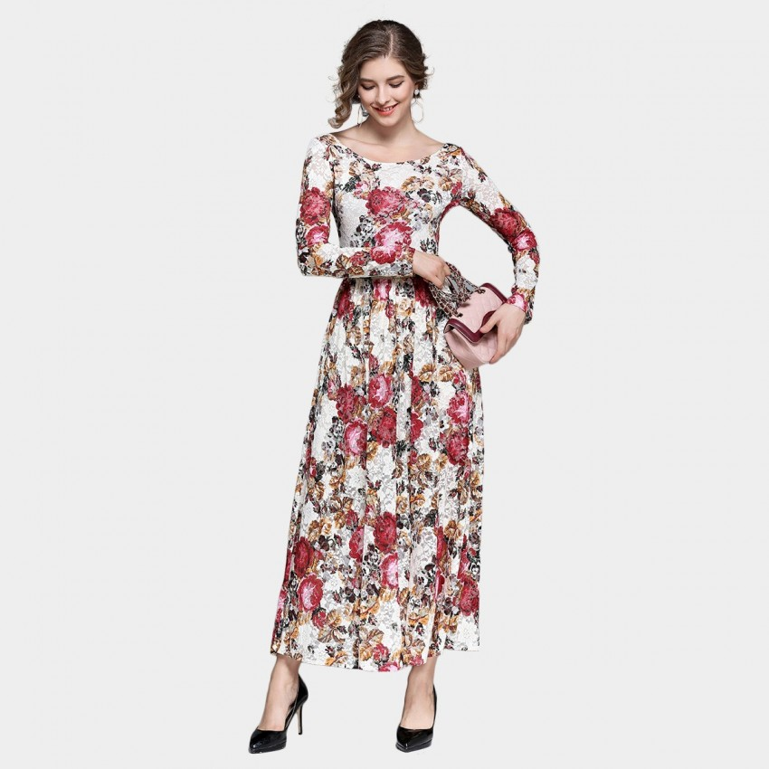 Buy Ou Yan Vintage Lace Boat Neckline Floral Dress online, shop Ou Yan with free shipping