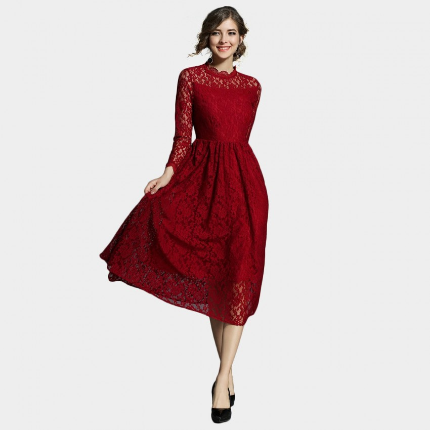 Buy Ou Yan Scalloped Sleeve Turtle Neck Lace Red Dress online, shop Ou Yan with free shipping