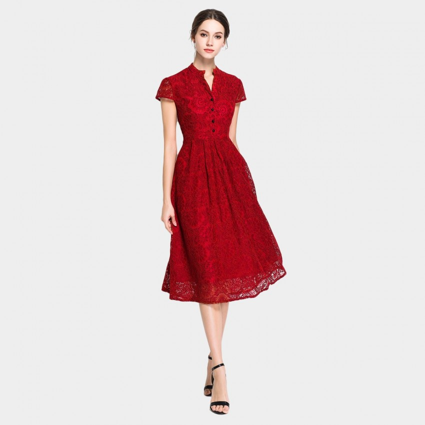 Buy Ou Yan Collar Button Cap Short Sleeved Red Dress online, shop Ou Yan with free shipping