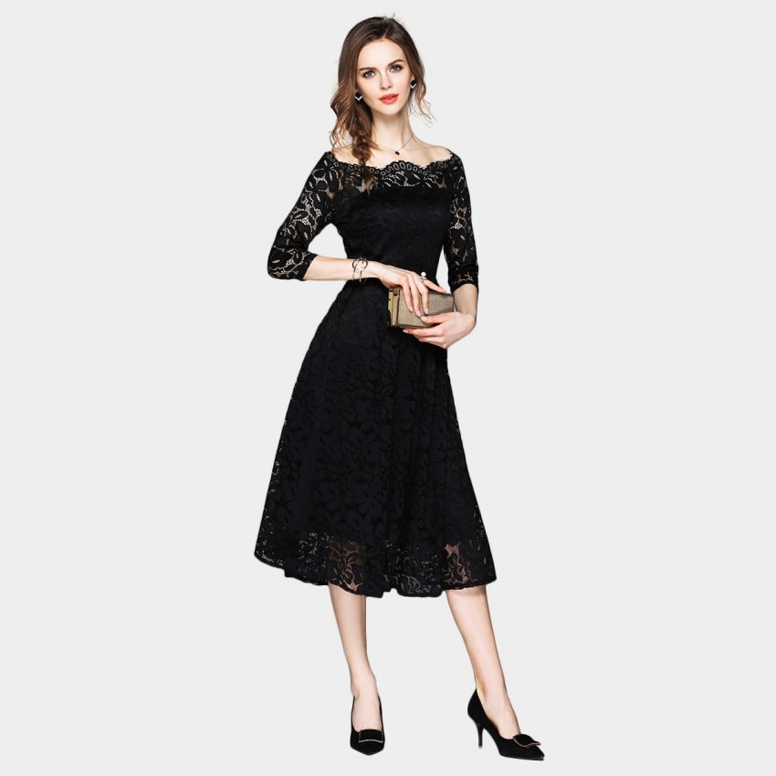 Buy Ou Yan Off Shoulder Scalloped Neckline Black Dress online, shop Ou Yan with free shipping