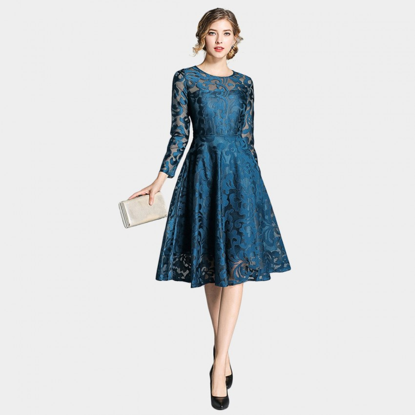 Buy Ou Yan Grand See Through Lace Navy Dress online, shop Ou Yan with free shipping