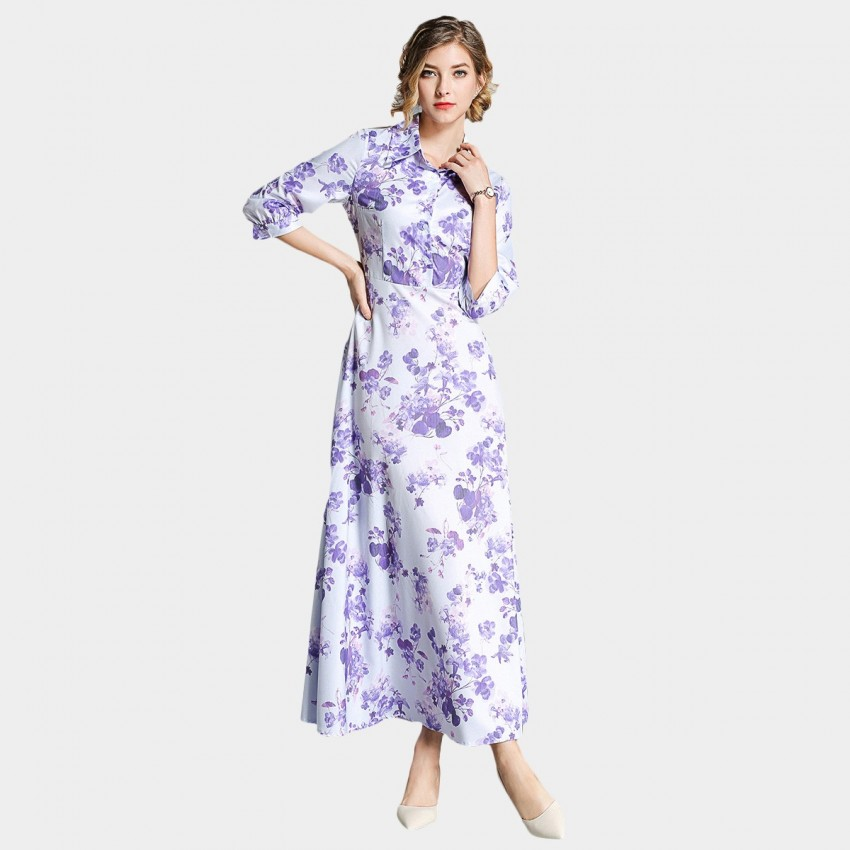 Buy Ou Yan Collar Mid Sleeved Watercolor Floral Lavender Dress online, shop Ou Yan with free shipping