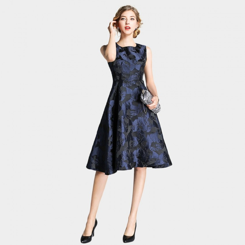 Buy Ou Yan Abstract Artistic Navy Dress online, shop Ou Yan with free shipping