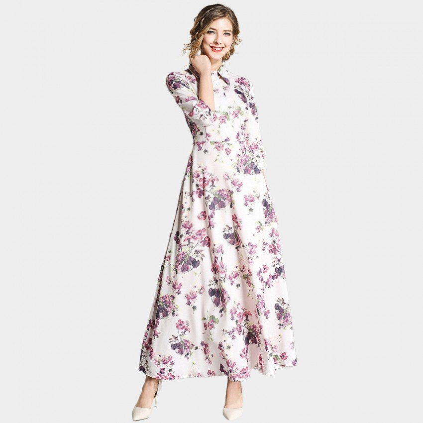 Buy Ou Yan Collar Mid Sleeved Watercolor Maxi Floral Dress online, shop Ou Yan with free shipping
