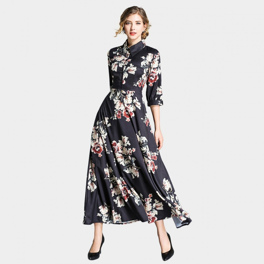 Buy Ou Yan Collar Mid Sleeved Floral Black Dress online, shop Ou Yan with free shipping
