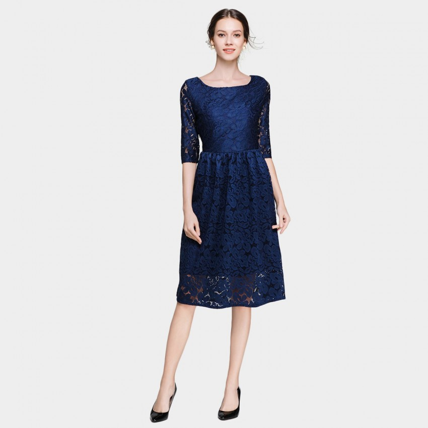 Buy Ou Yan Mid Sleeved Boat Neckline Lace Navy Dress online, shop Ou Yan with free shipping