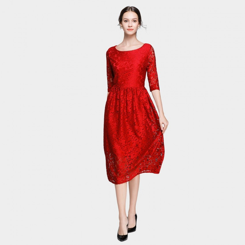 Buy Ou Yan Mid Sleeved Boat Neckline Lace Red Dress online, shop Ou Yan with free shipping