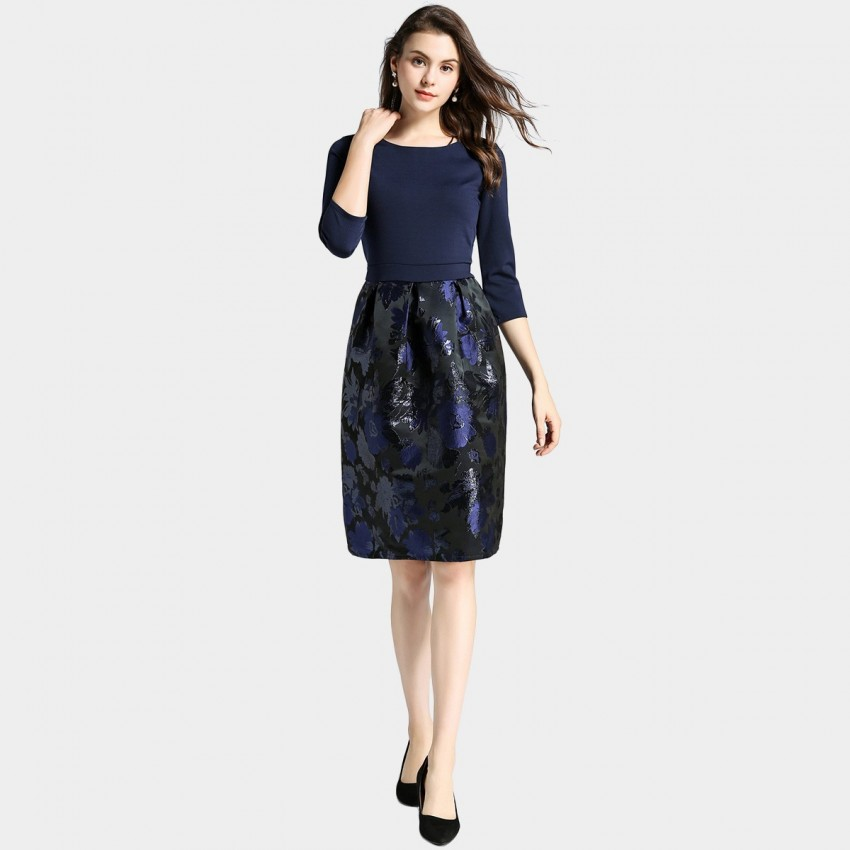 Buy Ou Yan Contrast Artistic Floral Navy Dress online, shop Ou Yan with free shipping