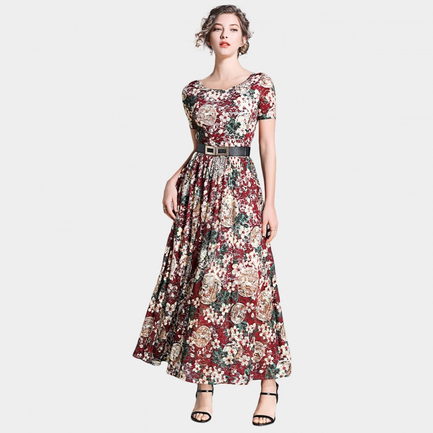 Buy Ou Yan Retro Boat Neckline Floral Red Dress online, shop Ou Yan with free shipping