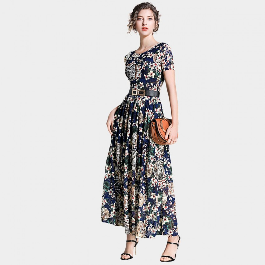 Buy Ou Yan Retro Boat Neckline Floral Navy Dress online, shop Ou Yan with free shipping