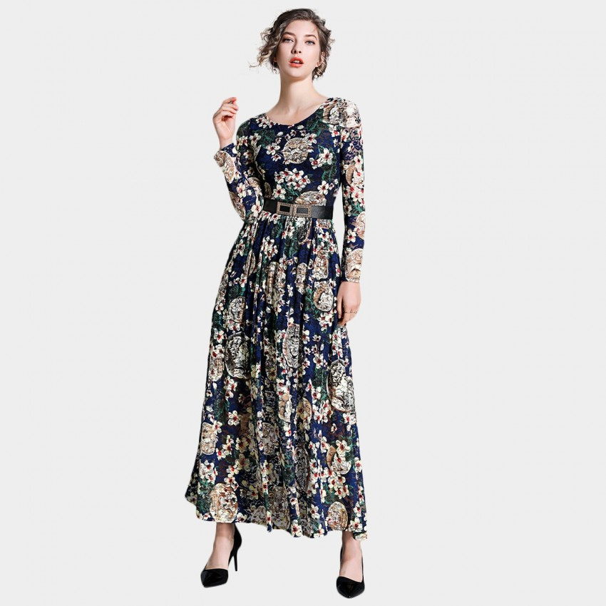 Buy Ou Yan Retro Boat Neckline Long Sleeved Floral Navy Dress online, shop Ou Yan with free shipping