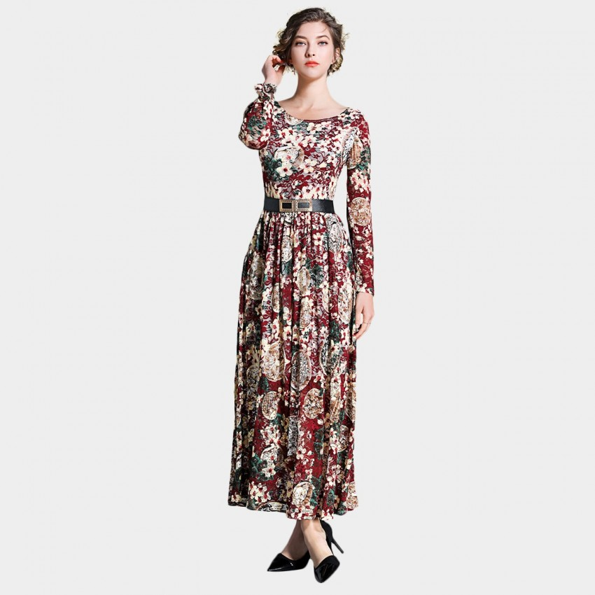 Buy Ou Yan Retro Boat Neckline Long Sleeved Floral Red Dress online, shop Ou Yan with free shipping