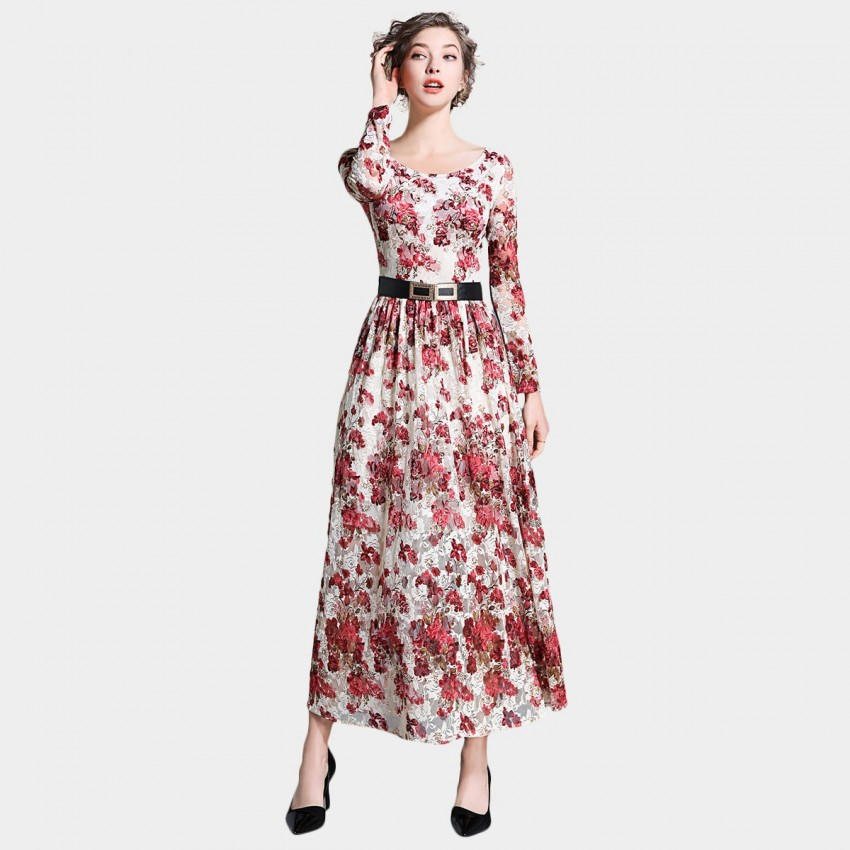 Buy Ou Yan Romantic Boat Neckline Floral Red Dress online, shop Ou Yan with free shipping