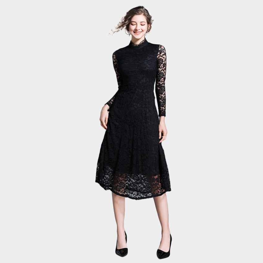 Buy Ou Yan Oriental Sexy Lace Black Dress online, shop Ou Yan with free shipping