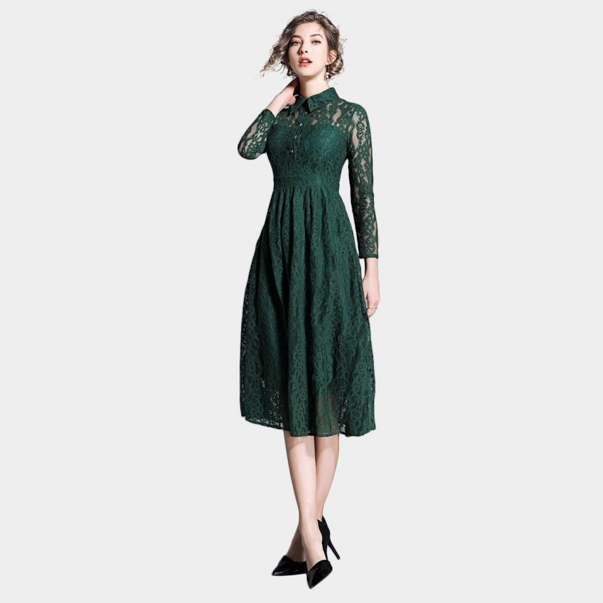 Buy Ou Yan Collar See Through Lace Green Dress online, shop Ou Yan with free shipping