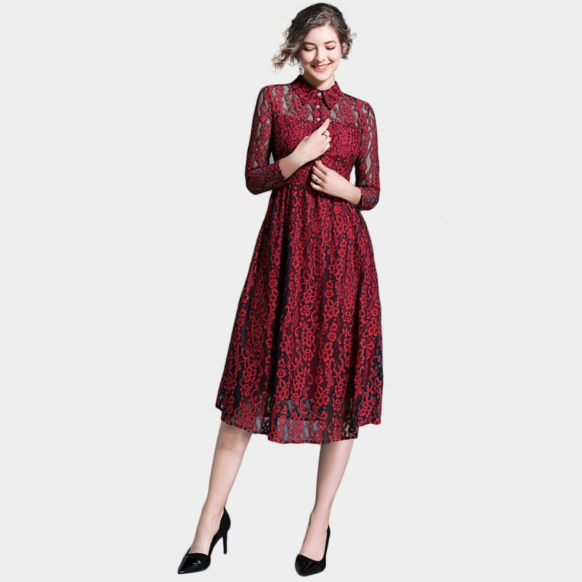 Buy Ou Yan Collar See Through Lace Red Dress online, shop Ou Yan with free shipping