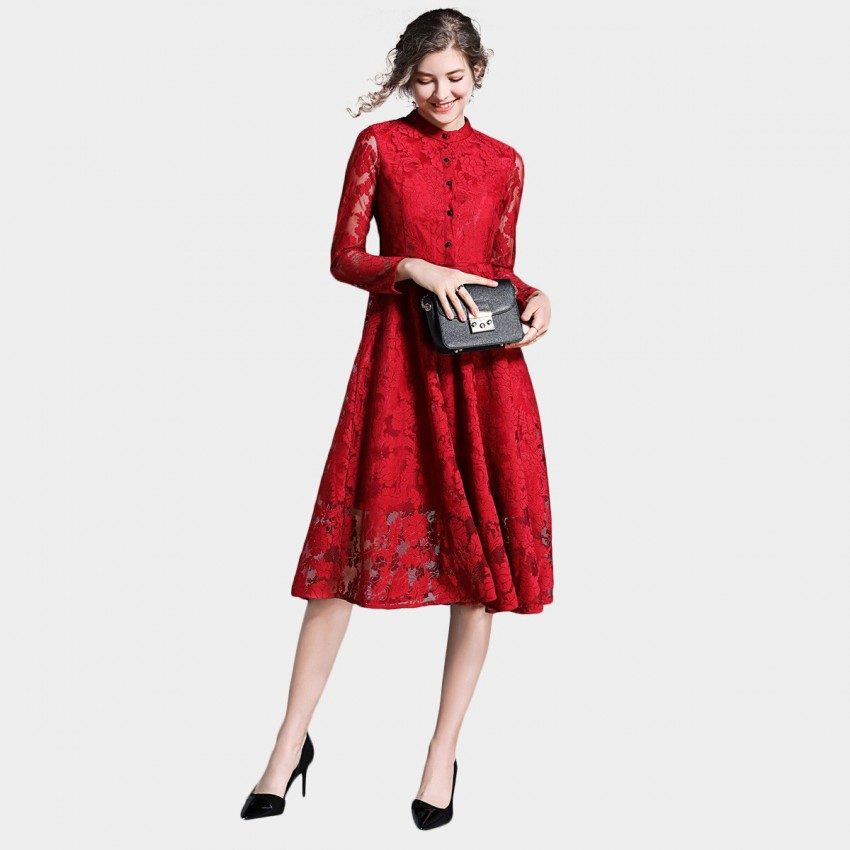 Buy Ou Yan Oriental Floral Button Red Dress online, shop Ou Yan with free shipping