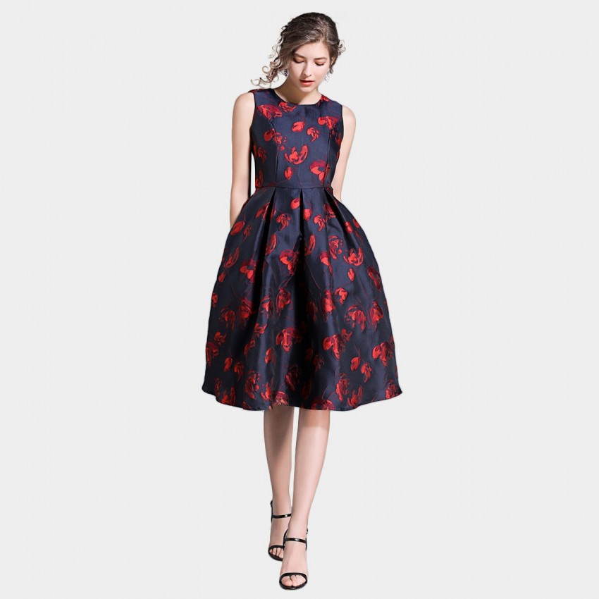 Buy Ou Yan Abstract A Line Floral Red Dress online, shop Ou Yan with free shipping