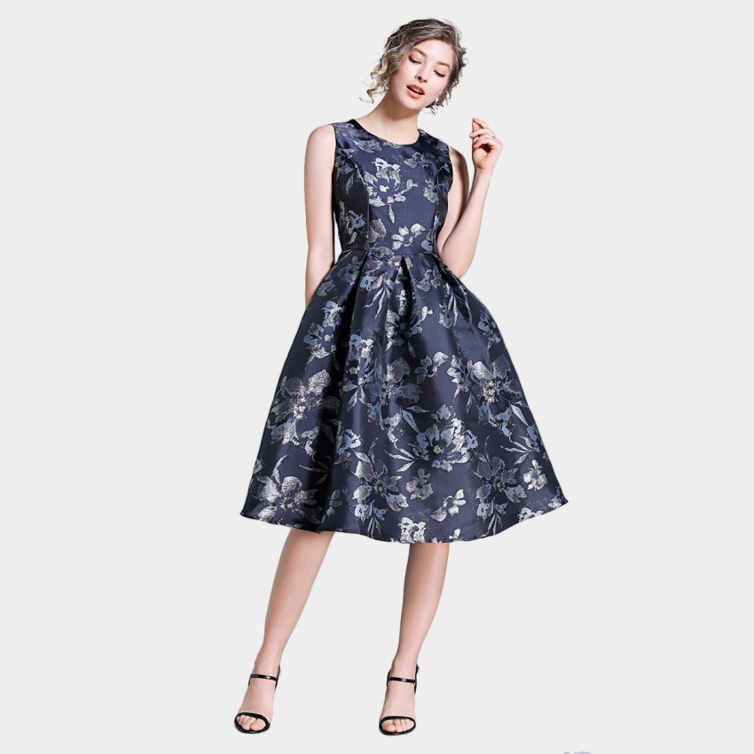 Buy Ou Yan Artistic A Line Floral Navy Dress online, shop Ou Yan with free shipping