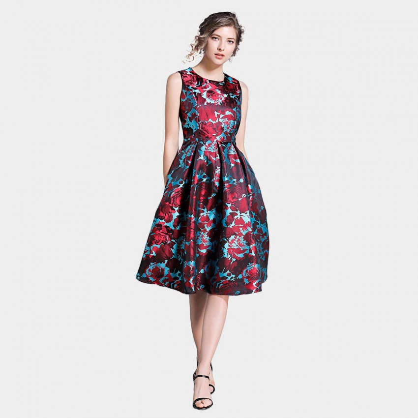 Buy Ou Yan Contrast A Line Floral Red Dress online, shop Ou Yan with free shipping