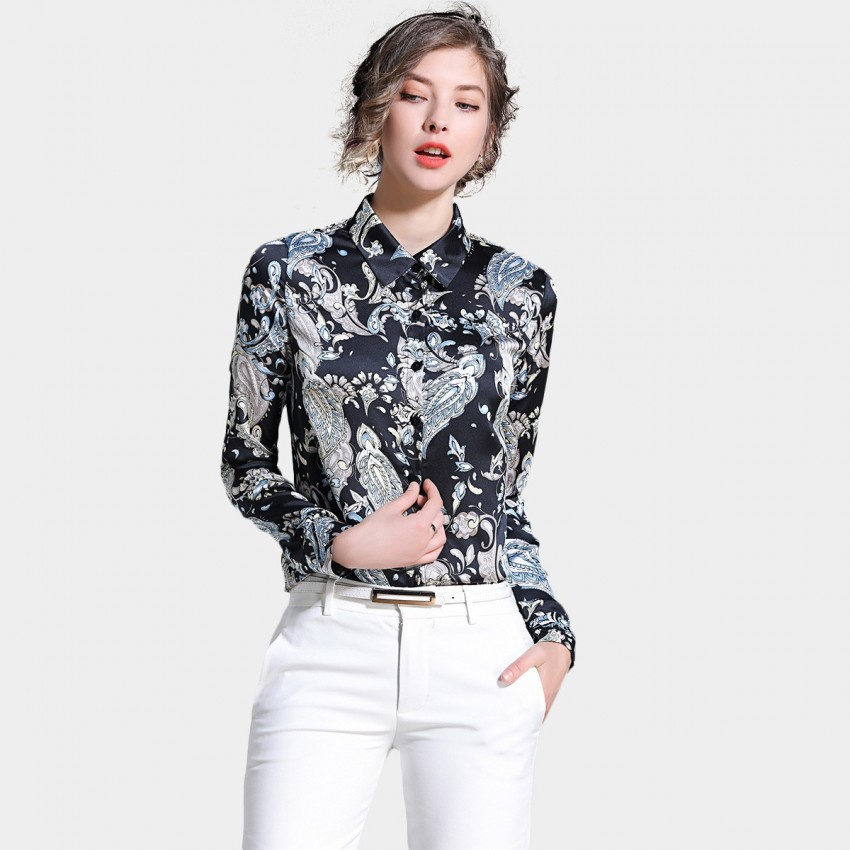 Ou Yan Artistic Paisley Patterned Black Shirt (8527)