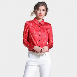 Ou Yan Abstract Geometrical Red Shirt (8528)