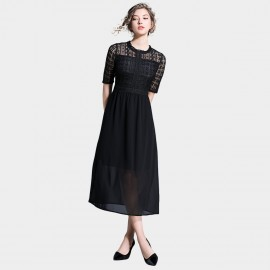 Ou Yan Chiffon Lace Black Dress (8602)