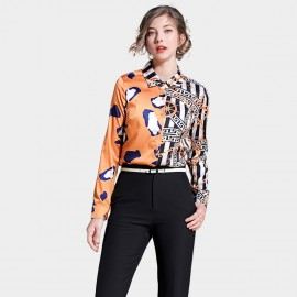 Ou Yan Contemporary Abstract Asymmetrical Orange Shirt (8701)