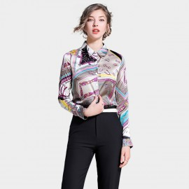 Ou Yan Abstract Contrast Multicolored Brown Shirt (8702)