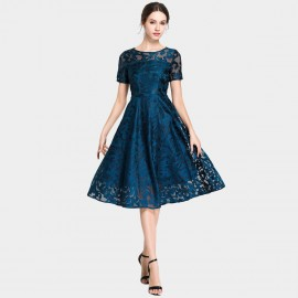 Ou Yan Graceful Floral Lace Navy Dress (8999)