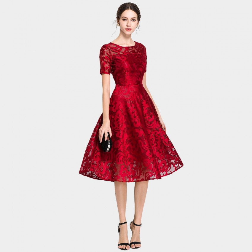 Buy Ou Yan Graceful Floral Lace Red Dress online, shop Ou Yan with free shipping