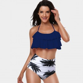 Kecole Lush Leaves Pattern Navy Bikini (SW004)