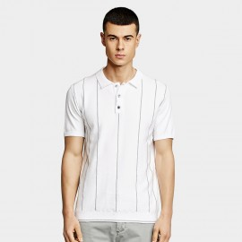 KUEGOU Stripe White Polo Shirt (AZ-19001)