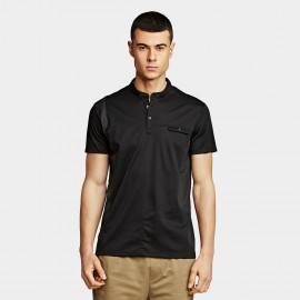 KUEGOU Slim Black Polo Shirt (DT-5917)