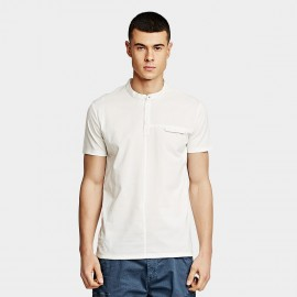 KUEGOU Slim White Polo Shirt (DT-5917)