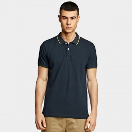 KUEGOU Simple Navy Polo Shirt (ZT-393)